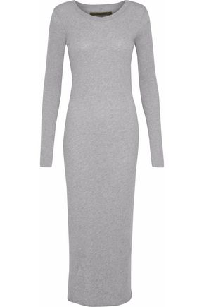 ENZA COSTA Mélange cotton and cashmere-blend jersey dress