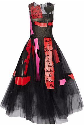 OSCAR DE LA RENTA Printed leather-appliquéd tulle maxi dress
