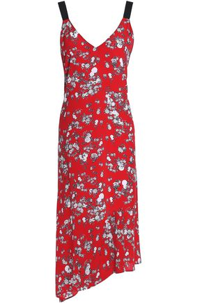 Zoe V-Neck Sleeveless Floral-Print Silk Dress in Red