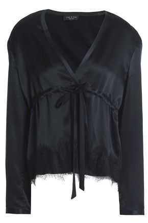 RAG & BONE Tomlin wrap-effect silk-satin top