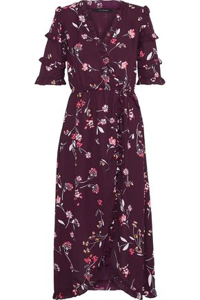 W118 by WALTER BAKER Havana wrap-effect floral-print crepe midi dress