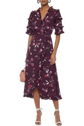 W118 by WALTER BAKER Havana wrap-effect floral-print crepe midi dress