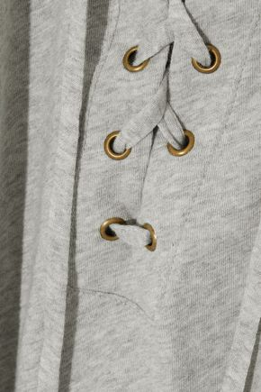 ENZA COSTA Lace-up mélange cotton and cashmere-blend top