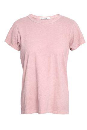 Rag Bone Woman Slub Pima Cotton Jersey T Shirt Blush Modesens