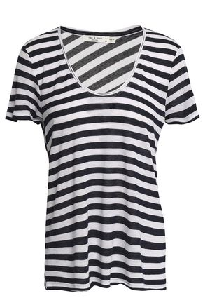 RAG & BONE Striped modal and linen-blend jersey T-shirt