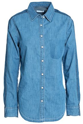 RAG & BONE Cotton and silk-blend chambray shirt