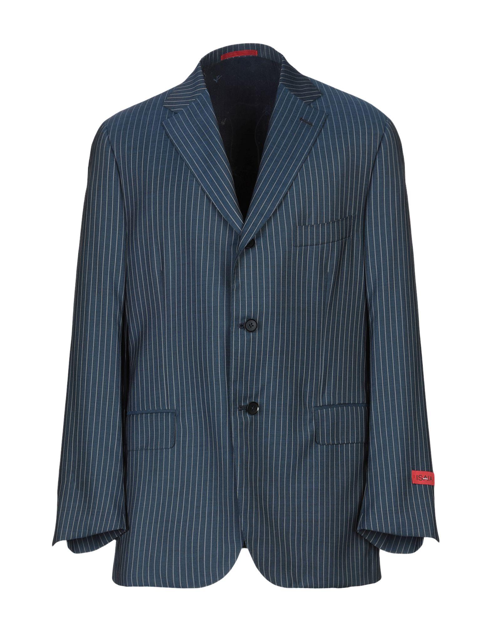 《送料無料》ISAIA メンズ テーラードジャケット ダークブルー 54 スーパー110 ウール 100%