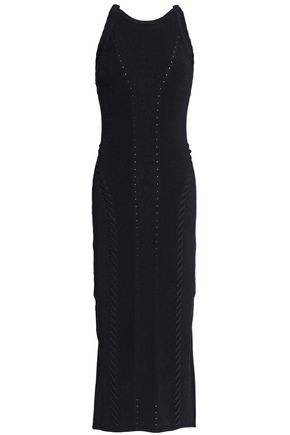 RAG & BONE Whipstitched ribbed-knit midi dress