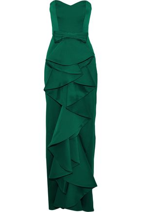BADGLEY MISCHKA Strapless ruffled satin-twill gown