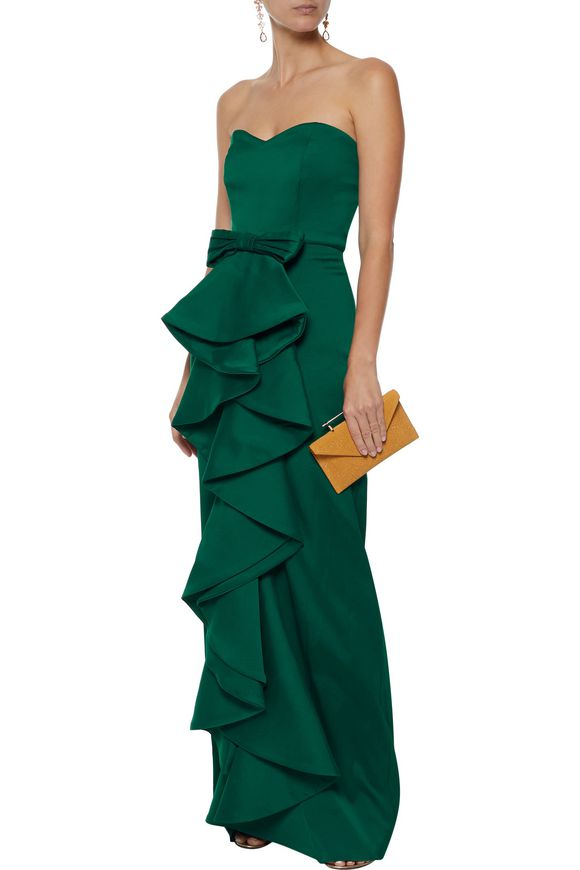 8466ce70a6cc Strapless ruffled satin-twill gown | BADGLEY MISCHKA | Sale up to 70 ...