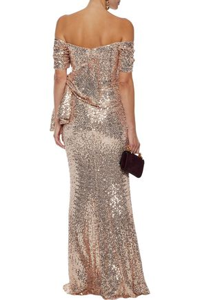 BADGLEY MISCHKA Off-the-shoulder ruched sequined tulle gown