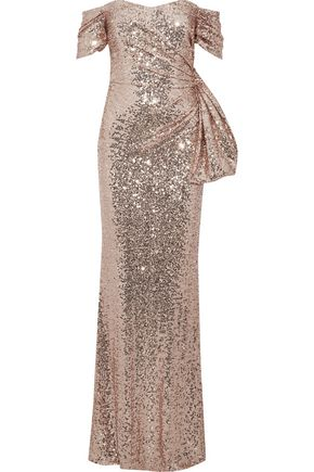 BADGLEY MISCHKA Off-the-shoulder knotted sequined tulle gown
