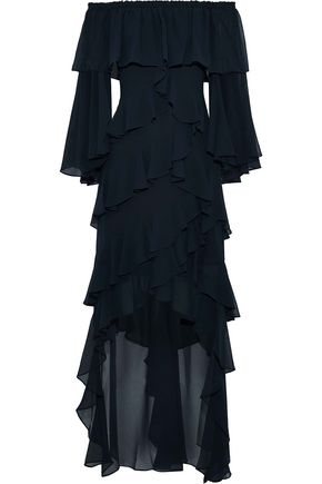 BADGLEY MISCHKA Off-the-shoulder ruffled chiffon midi dress