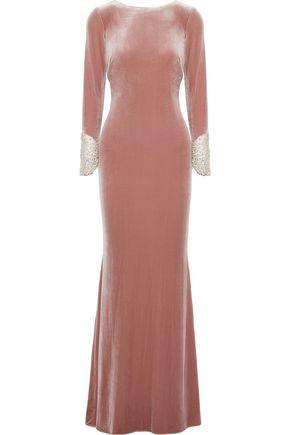 BADGLEY MISCHKA Crystal-embellished mesh-paneled velvet gown