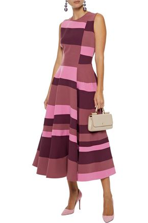 ROKSANDA Flared color-block crepe midi dress