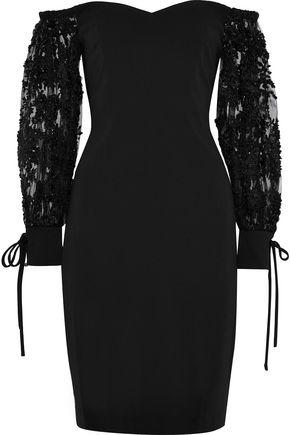 BADGLEY MISCHKA Off-the-shoulder embellished tulle-paneled stretch-cady dress