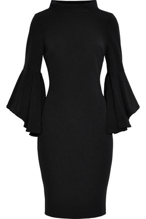 BADGLEY MISCHKA Fluted cady turtleneck dress