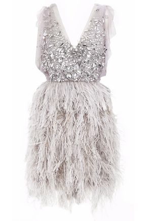 JENNY PACKHAM Sequin and feather-embellished tulle dress