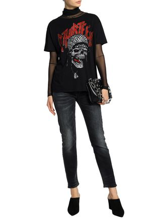 R13 Printed slub cotton and cashmere-blend jersey T-shirt
