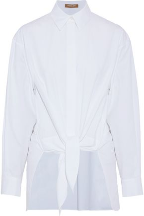 MICHAEL KORS COLLECTION Tie-front cotton-poplin shirt