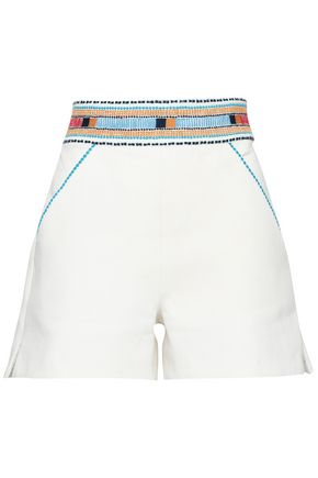 TALITHA Embroidered cotton-twill shorts