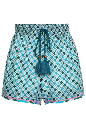 TALITHA Printed cotton and silk-blend mousseline shorts