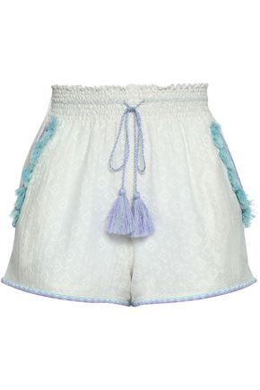 TALITHA Tasseled fil coupé cotton and silk-blend shorts