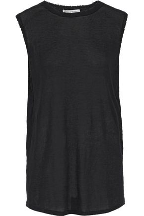 COTTON by AUTUMN CASHMERE Distressed slub cotton-jersey tank