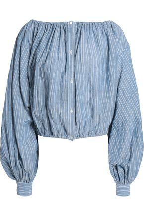 NILI LOTAN Off-the-shoulder striped cotton-blend chambray top
