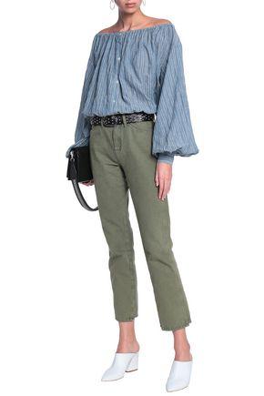 NILI LOTAN Off-the-shoulder striped cotton-blend chambray top