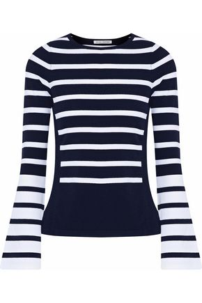 AUTUMN CASHMERE Striped stretch-knit top