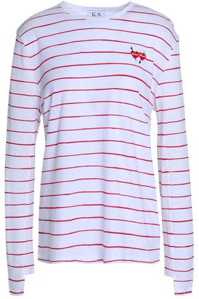 ZOE KARSSEN Embroidered striped cotton and linen-blend T-shirt