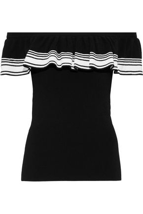 AUTUMN CASHMERE Off-the-shoulder ruffled striped knitted top
