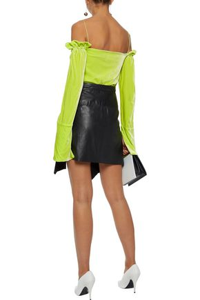 MICHAEL LO SORDO Cold-shoulder ruffle-trimmed neon velvet top