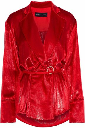 MICHAEL LO SORDO Metallic velvet wrap top