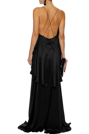 MICHAEL LO SORDO Open-back ruffled silk-satin gown