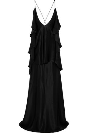 MICHAEL LO SORDO オープンバック ラッフル付き シルクサテン ロングドレス