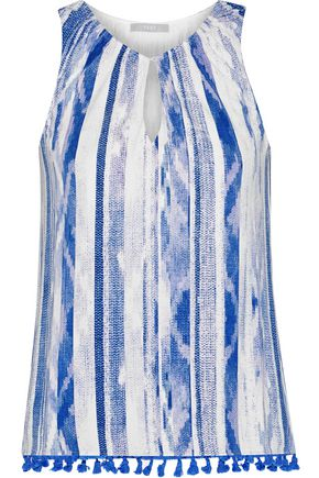 TART COLLECTIONS Cari tassel-trimmed printed stretch-modal jersey top