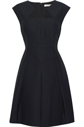 HALSTON HERITAGE Flared cotton and silk-blend mini dress