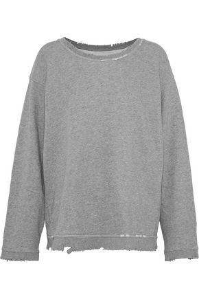 RTA Beal distressed French cotton-blend terry sweatshirt