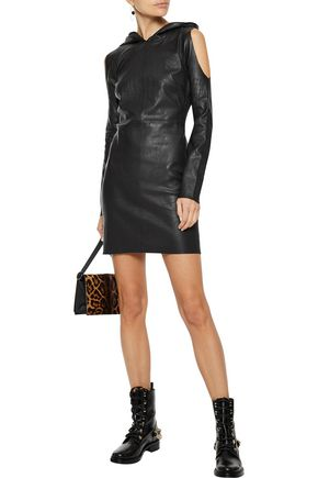 RTA Grace cold-shoulder leather hooded mini dress