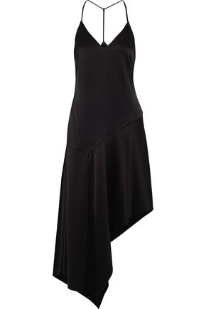 HALSTON HERITAGE Asymmetric charmeuse midi slip dress