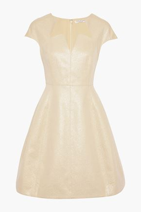Metallic Cotton Blend Ponte Mini Dress by Halston Heritage