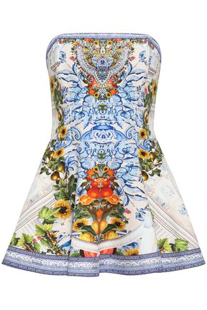 CAMILLA Embellished printed cotton-blend top