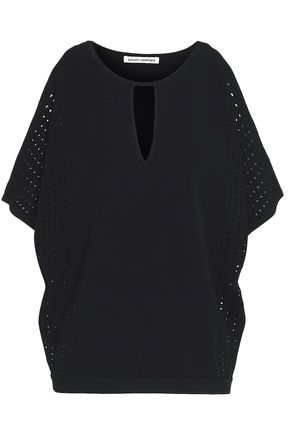 AUTUMN CASHMERE Off-the-shoulder pointelle-trimmed knitted top