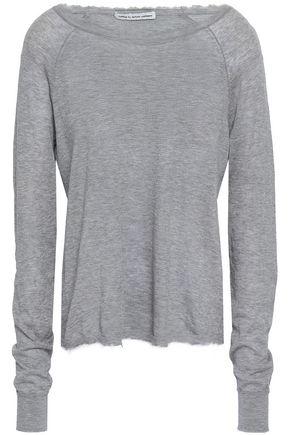AUTUMN CASHMERE Frayed mélange cotton-knit top