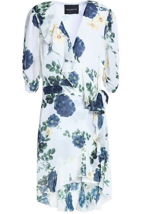NICHOLAS Ruffled floral-print silk-georgette mini wrap dress