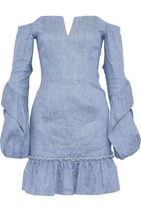 NICHOLAS Off-the-shoulder denim mini dress