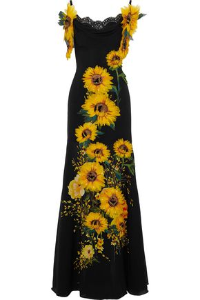 DOLCE & GABBANA Off-the-shoulder appliquéd floral-print silk-blend gown