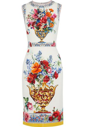 DOLCE & GABBANA Printed silk-blend crepe dress